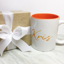 Your Name on an Orange Inner-color Mug + Special Gift Box and White Ribbon