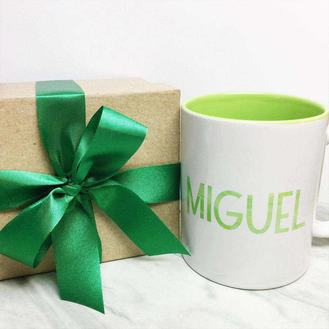 Your Name on a Light Green Inner-color Mug + Special Gift Box and Green Ribbon