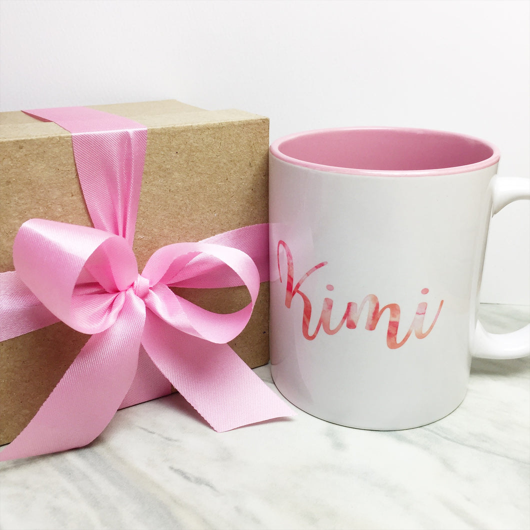 Your Name on a Pink Inner-color Mug + Special Gift Box and Pink Ribbon