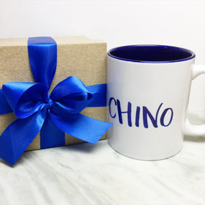 Your Name on a Dark Blue Inner-color Mug + Special Gift Box and Royal Blue Ribbon
