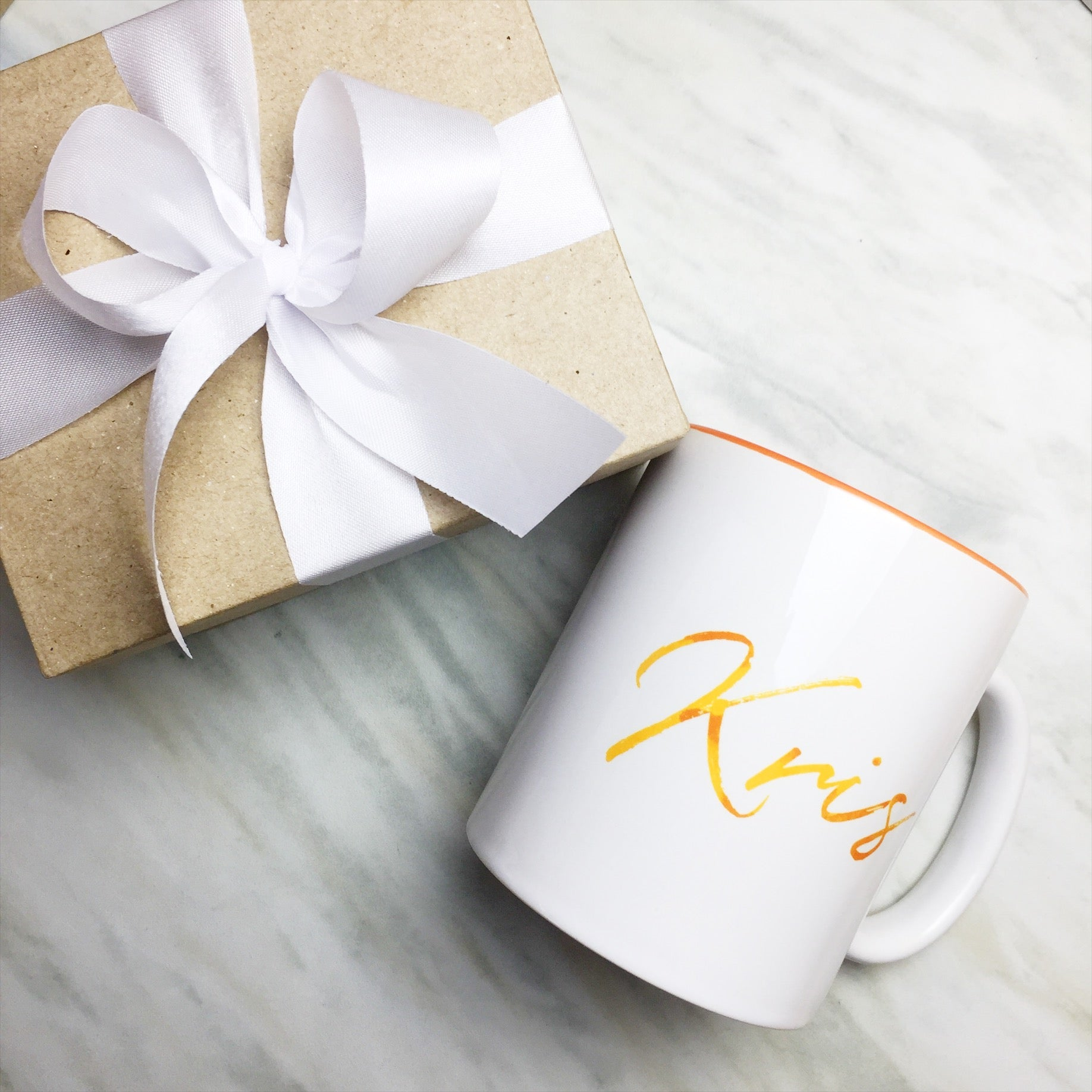 Your Name on an Orange Inner-color Mug + Special Gift Box and White ...