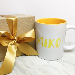 Your Name on a Yellow Inner-color Mug + Special Gift Box and Gold Ribbon
