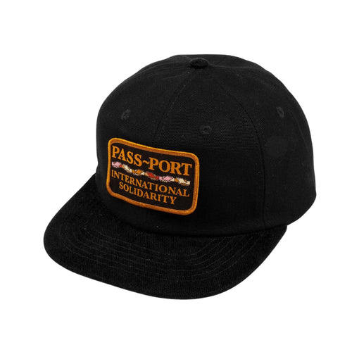 Inter Solid Patch 5 Panel Cap - Black/Black