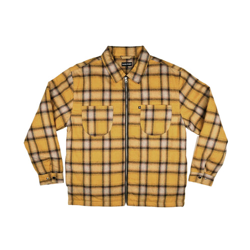 Quilted Zip Up Flannel Jacket - Mustard