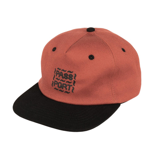 Messy Logo 6 Panel Cap - Rust/Black