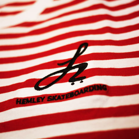 Stripe Monogram Logo Tee - Red/White