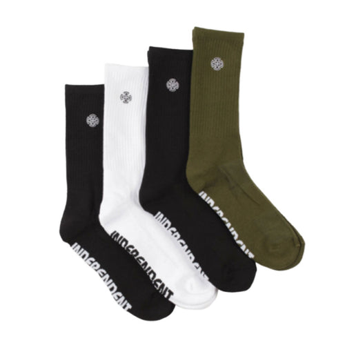 Cross Embroidery Sock - 4 Pack - Black/White/Moss