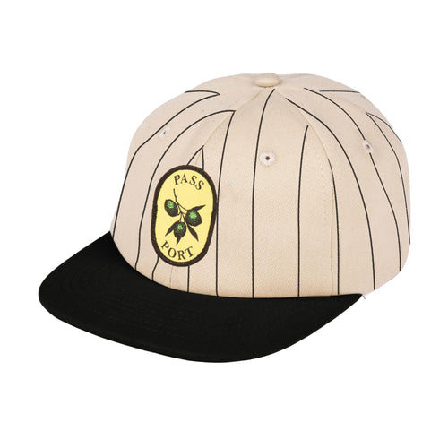Olive Stripe 6 Panel Cap - Black