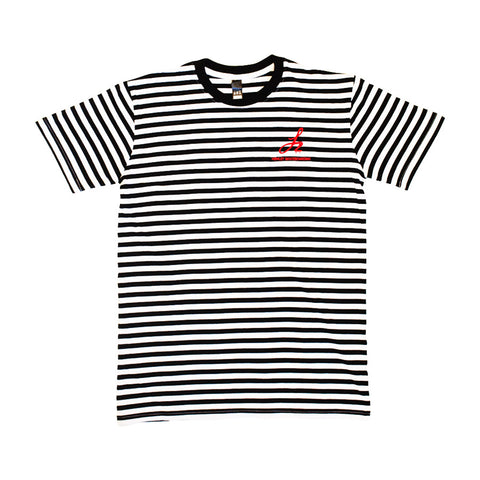 Stripe Monogram Logo Tee - Black/White