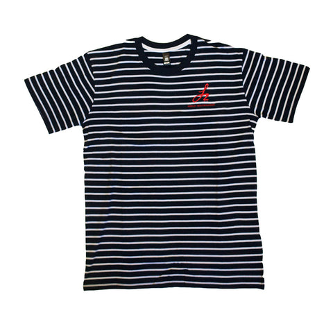 Stripe Monogram Logo Tee - Navy/White