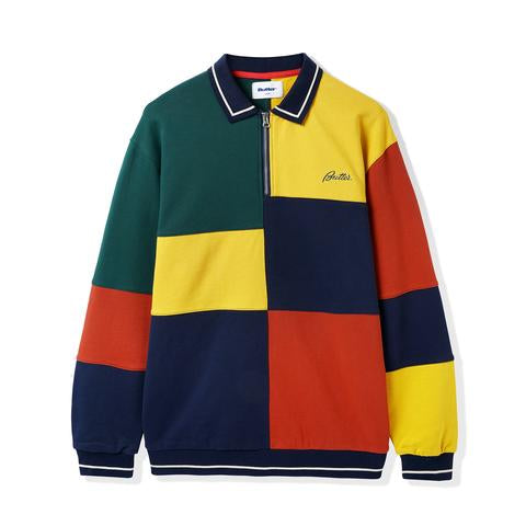 Patchwork Pullover Sweatshirt -Navy/Brick/Gold