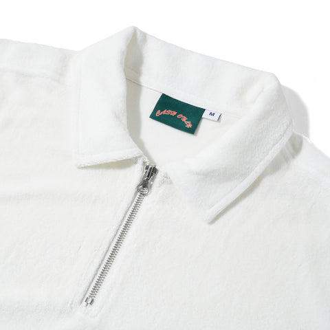 Terry Toweling Zip Polo - White