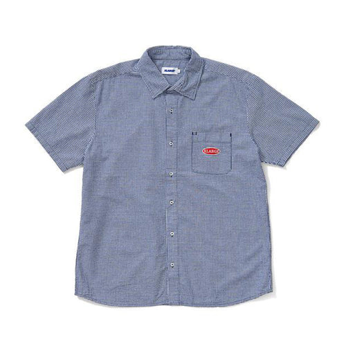 Pleated Check SS Shirt - Navy
