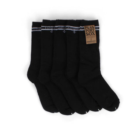 Passport Socks - Hi Sox 5 Pack Black - Hemley Skateboarding