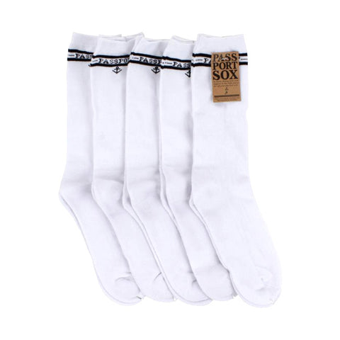 Passport Socks - 5 Pack White - Hemley Skateboarding