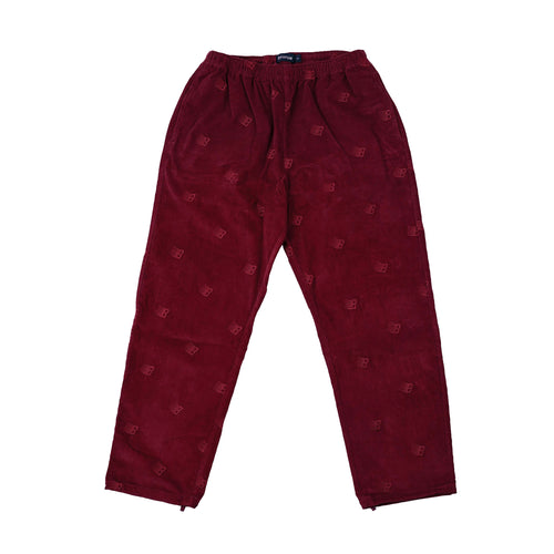 All Over Embroidered Pant - Maroon