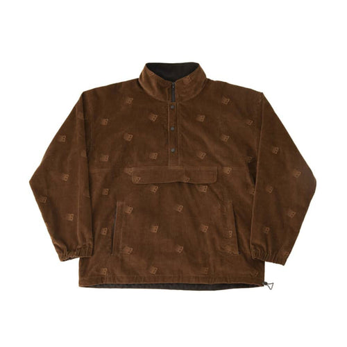 All Over Embroidered Anorak - Brown