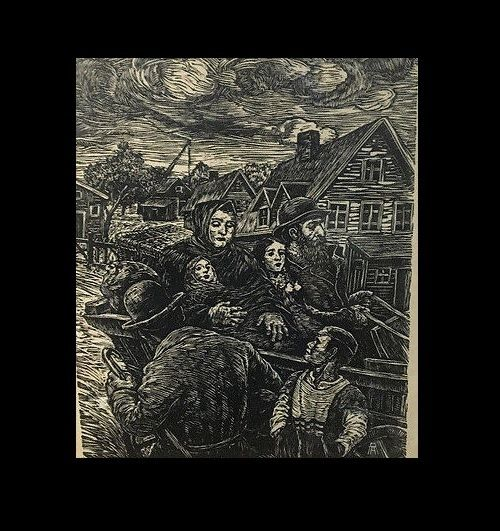Albert Abramovitz Hand Signed Woodblock Great Depression Emigration
