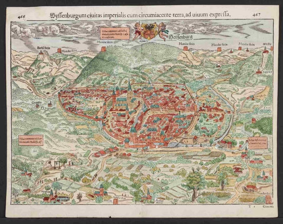 Original 16th Century Map Wissembourg Abbey Alsace France 1572 Sebastian Munster