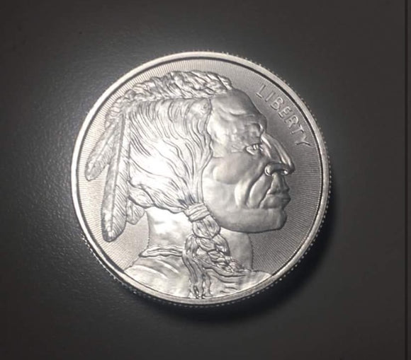 1 ozt 999 Fine Silver 2017 Indian head Round 1oz Elemetal Buffalo .999