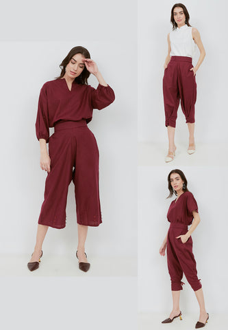 Basic 3-Way Pants BURGUNDY