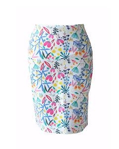 WHITE 花 HANA Pencil Skirt