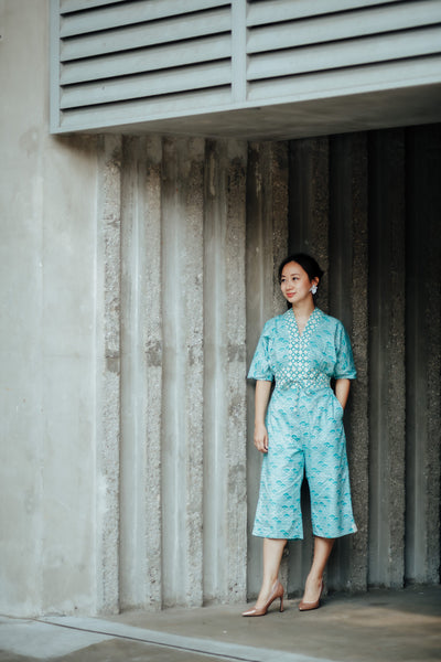 SEIGAIHA せいがいは Batik Jumpsuit MINT