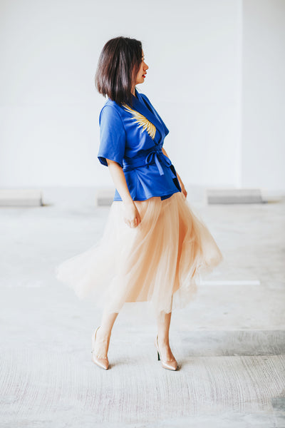 GOLDEN WINGS Royal Blue Kimono Top