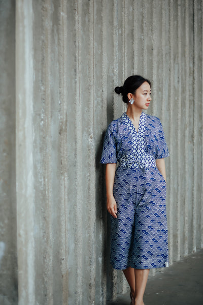 SEIGAIHA せいがいは Batik Jumpsuit NAVY