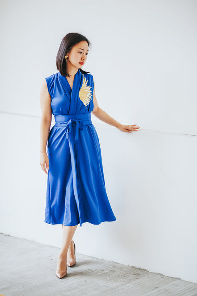 GOLDEN WINGS Royal Blue Blazer Dress