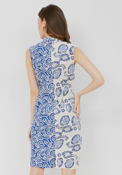 Porcelain blu Cheongsam Dress BATIK