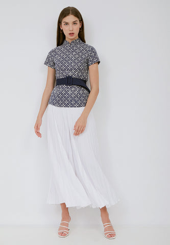 Basic Pleated Culottes Maxi (White)