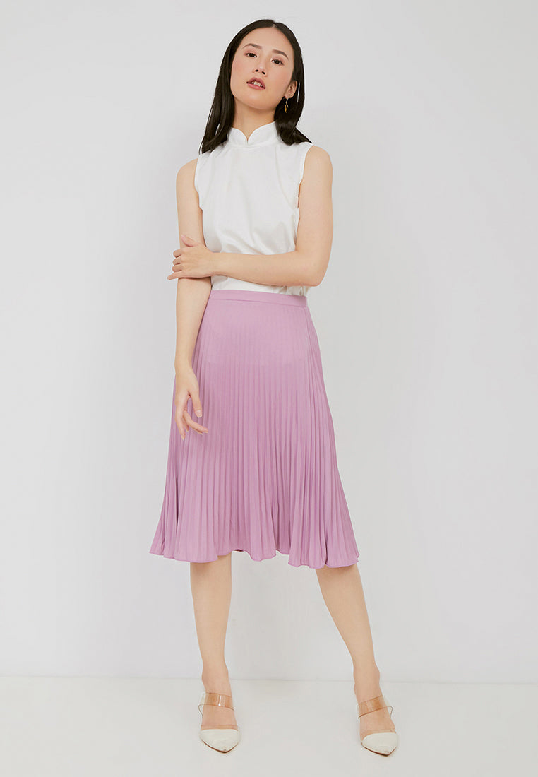 Basic Pleated Skirt Lilac