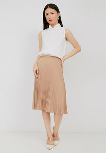 Basic Pleated Skirt Nude