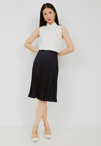 Basic Pleated Skirt Navy