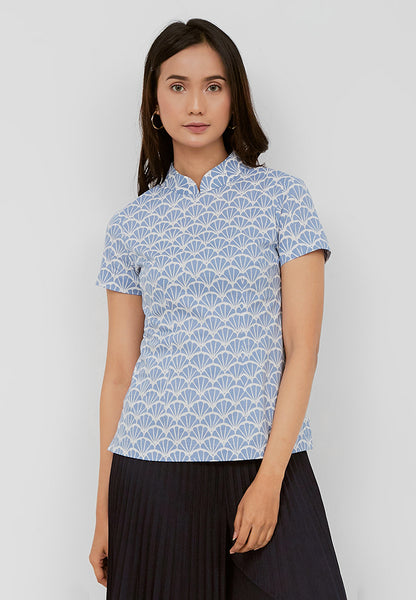 FANS Batik Cheongsam Top Light Blue