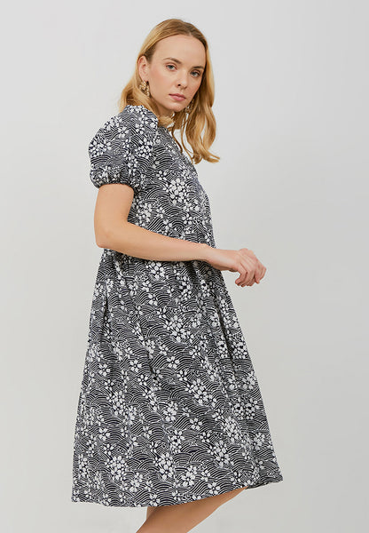 SAKURA さくら NAVY Puff Sleeve Dress BATIK