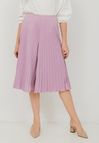 Basic Pleated Culottes Midi Lilac