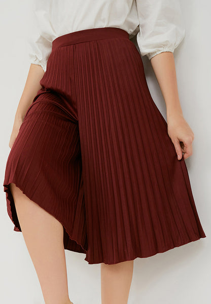 Basic Pleated Culottes Midi Maroon