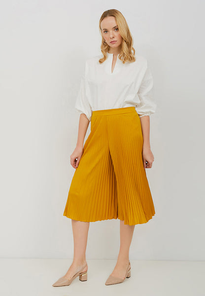 Basic Pleated Culottes Midi Mustard