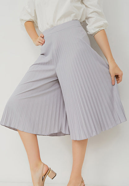 Basic Pleated Culottes Midi Grey