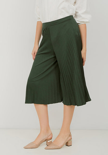 Basic Pleated Culottes Midi Emerald Green