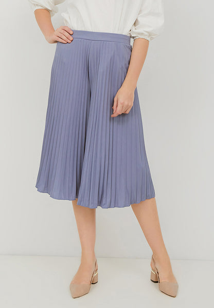 Basic Pleated Culottes Midi Light Blue
