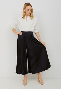 Basic Pleated Culottes Maxi (Navy)