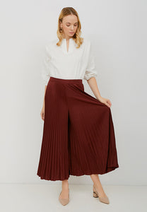 Basic Pleated Culottes Maxi (Maroon)