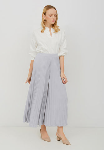 Basic Pleated Culottes Maxi (Grey)