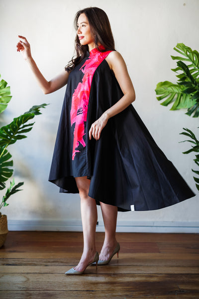 BLACK BLOOMS Flying Dress
