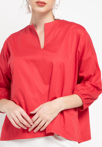 Basic Tunic Shirt Red #sl
