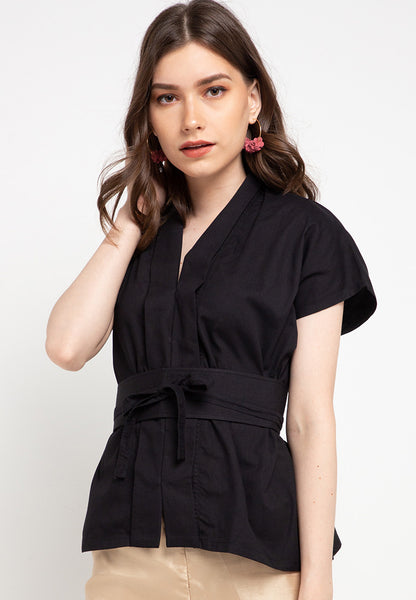 Basic Nyonya Cap Sleeve Top Black