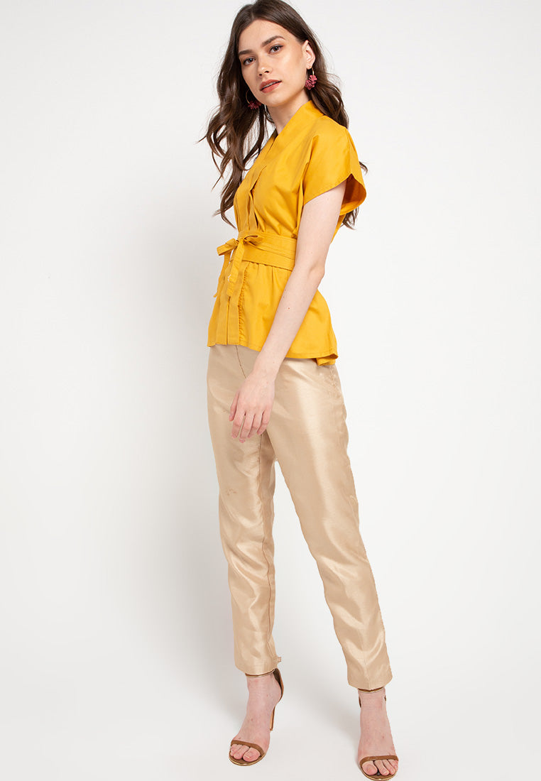 Basic Nyonya Cap Sleeve Top Mustard